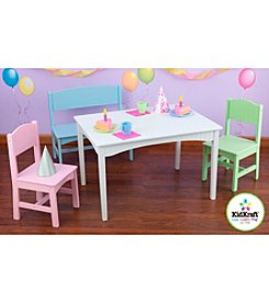 KidKraft Nantucket Table with Pastel Bench and 2 Chairs