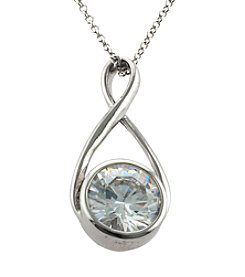 Athra Silver Plated Cubic Zirconia Infinity Pendant