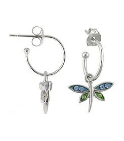 Athra Silver Plated Crystal Dragonfly Charm Hoop Earrings