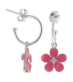 Athra Silver-Plated Crystal Flower with Crystal Charm Hoop Earrings