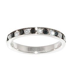 Athra Silver Plated Black And White Crystal Ring