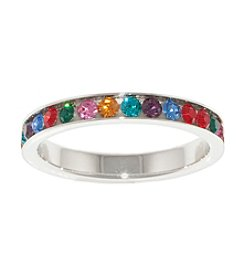 Athra Silver Plated Multi Color Crystal Ring