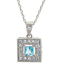 Athra Sterling Silver Blue Cubic Zirconia Pave Square Pendant