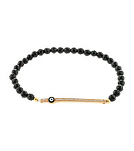 Athra Gold over Sterling Silver Cubic Zirconia Bar & Guardian Eye Bracelet