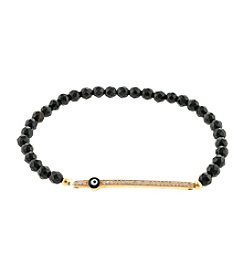 Gold over Sterling Silver Cubic Zirconia Bar & Guardian Eye Bracelet