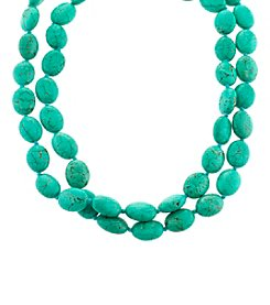 Athra Sterling Silver Double Row Oval Turquoise Necklace