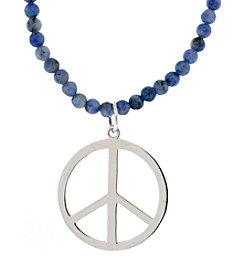 Athra Sterling Silver Peace Sign Necklace