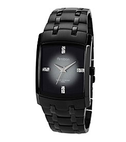 Armitron Men's Crystal Accented Black Stainless Steel Watch