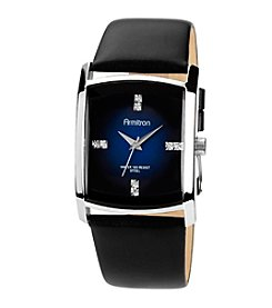 Armitron Men's Crystal Accented Silvertone Black Leather Strap Watch