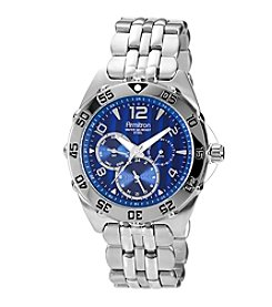 Armitron Men's Silvertone  Stainless Steel Multifunction Blue Dial Watch