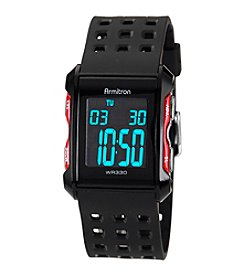Armitron Men's Chronograph  Black  and Red Digital Sport Watch
