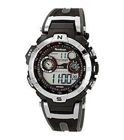 Armitron Men's Silvertone and Black Chronograph Digital Sport Watch