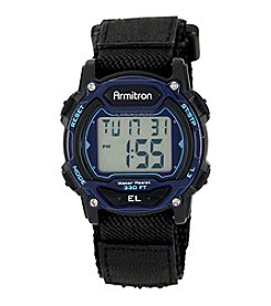 Armitron Unisex Black Nylon Strap Blue Accented Digital Chronograph Sport Watch