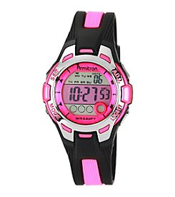 Armitron Women's Pink Dial Black Resin Strap Digital Watch