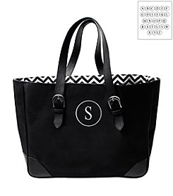 Cathy's Concepts Personalized Black Chevron Buckle Tote