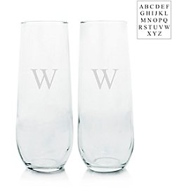 Cathy's Concepts Personalized Set of Two Stemless Champagne Toasting Flutes