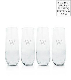 Cathy's Concepts Set of Four Personalized Stemless Champagne Toasting Flutes