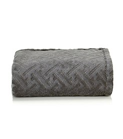 LivingQuarters Lattice Texture Grey Micro Cozy Throw