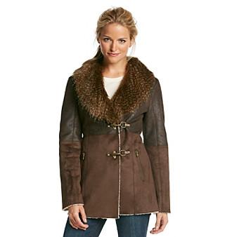 Jessica Simpson Faux Suede Clip Closure Walker Coat