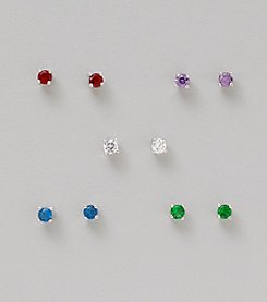 Sterling Silver 5 Pair Earrings: Clear, Amethyst, Blue, Emerald & Red Cubic Zirconia