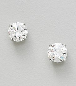 Sterling Silver Large Clear Solitaire Cubic Zirconia Round Earrings