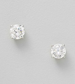 Clear Cubic Zirconia Round Earrings