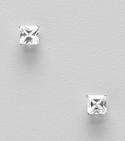 Small Sterling Silver Clear Cubic Zirconia Square Stud Earrings