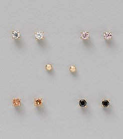 Five Pair 24K Gold Plated Cubic Zirconia 3mm Round Stud Ballpost Earrings