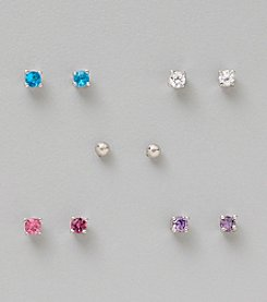 Five Pair Silver Plated Cubic Zirconia 3mm Round Stud Ballpost Earrings