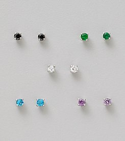 Five Pair Silver Plated Cubic Zirconia 3mm Round Stud Earrings