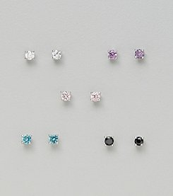 Five Pair Silver Plated Cubic Zirconia 3mm Round Stud Earrings: Clear, Pink, Aqua, Amethyst & Jet