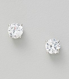Silver Plated Clear 7mm Round Stud Earrings