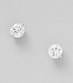 Silver Plated Clear 6mm Round Stud Earrings
