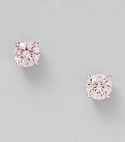 Silver Plated Cubic Zirconia Pink 6mm Round Stud Earrings