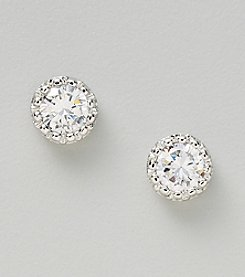 Silver Plated Clear Cubic Zirconia Round Textured Bezel Set Earrings
