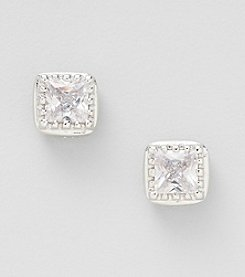 Silver Plated Clear Cubic Zirconia Square Textured Bezel Set Earrings