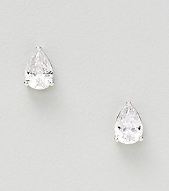 Silver Plated Medium Clear Cubic Zirconia Pear Shape Prong Stud Earrings