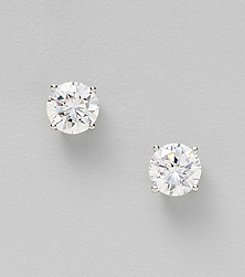 Silver Plated Large Clear Cubic Zirconia Round Prong Stud Earrings