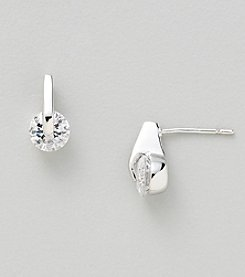 Silver Plated Clear Cubic Zirconia Earrings