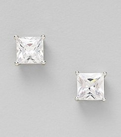 Sterling Silver 8mm Cubic Zirconia Square Stud Earrings