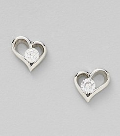 Silver Plated Clear Cubic Zirconia in Center Heart Stud Earrings
