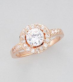 Rose Gold Plated Clear Cubic Zirconia Round Ring - Size 7
