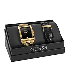 GUESS Goldtone Diamond Accent Watch Box Set