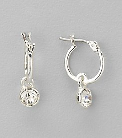 Nine West® Silvertone and Crystal Hoop with Drop Pierced Earrings
