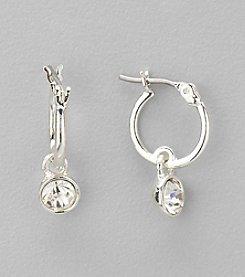 Nine West® Silvertone and Crystal Hoop with Drop Pierced Earrings