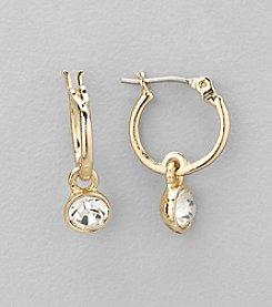 Nine West® Goldtone and Crystal Hoop with Drop Pierced Earrings