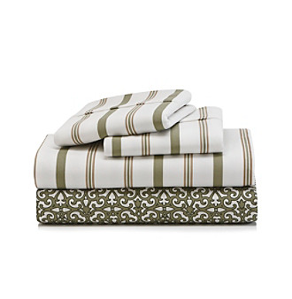 LivingQuarters Cold-Weather Performance Green Scroll and Stripes Microfiber Sheet Set