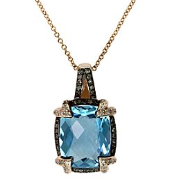Effy® Blue Topaz, Brown and White .25 ct. t.w. Diamond Pendant in 14K Rose Gold