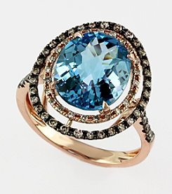 Effy® Blue Topaz, Brown and White .38 ct. t.w. Diamond Ring in 14K Rose Gold