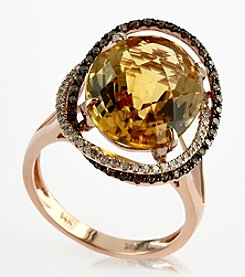 Effy® Citrine, Brown and White .37 ct. t.w. Diamond Ring in 14K Rose Gold